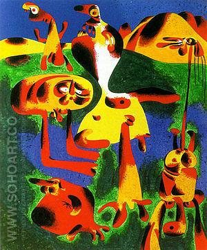 Figures and Mountains 1936 - Joan Miro reproduction oil painting
