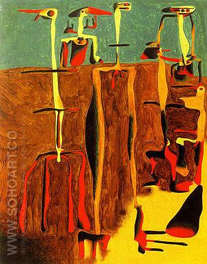 Seated Figures March 1936 - Joan Miro reproduction oil painting