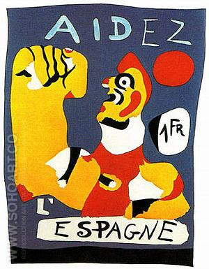 Aidez l'Espagne (Help Spain) 1937 - Joan Miro reproduction oil painting