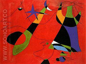 Personages on a Red Ground 1938 - Joan Miro reproduction oil painting