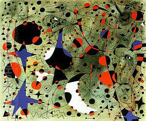 The Nightingale's Song at Midnight and Morning Rain 4-9-1940 - Joan Miro reproduction oil painting