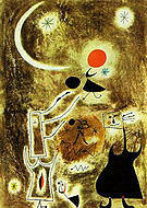 Woman and Bird in Front of the Sun 1942 - Joan Miro reproduction oil painting