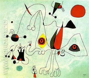 Women and Birds at Sunrise 14-2-1946 - Joan Miro reproduction oil painting