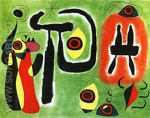 The Red Sun Gnaws at the Spider 1948 - Joan Miro reproduction oil painting