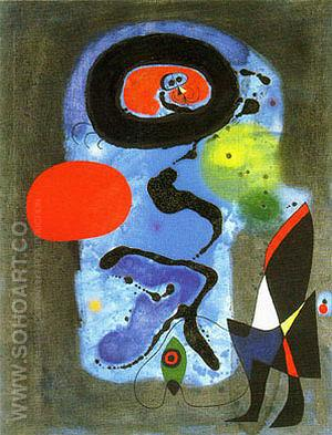 The Red Sun 1948 - Joan Miro reproduction oil painting