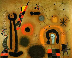 Dragonfly with RedTipped Wing in Pursuit of a Surpent Spiralling Toward a Comet 1951 - Joan Miro reproduction oil painting
