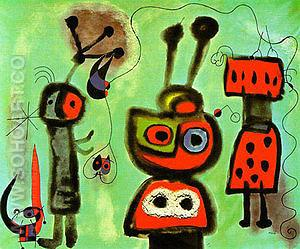 The Bird with a Calm Look Its Wings in Flames 1952 - Joan Miro reproduction oil painting
