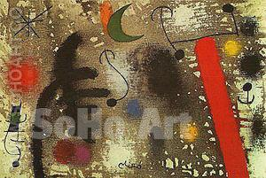 Lovers Coupled in the Night 3 1 1966 - Joan Miro reproduction oil painting