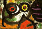 Woman and Birds 3-1-1966 - Joan Miro reproduction oil painting