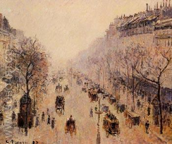 Boulevard Montmartre Morning, Sunlight and Mist 1897 - Camille Pissarro reproduction oil painting