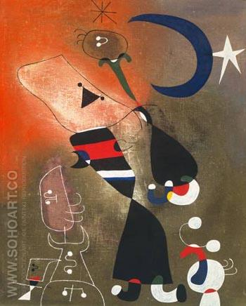 Woman and Bird in the Moonlight 1949 - Joan Miro reproduction oil painting
