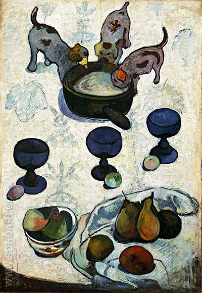 Still Life with Three Puppies 1888 - Paul Gauguin reproduction oil painting