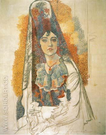 Woman in a Mantilla (La Salchichona) 1917 - Pablo Picasso reproduction oil painting