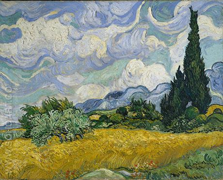 Wheat Field with Cypresses, 1889 - Vincent van Gogh reproduction oil painting