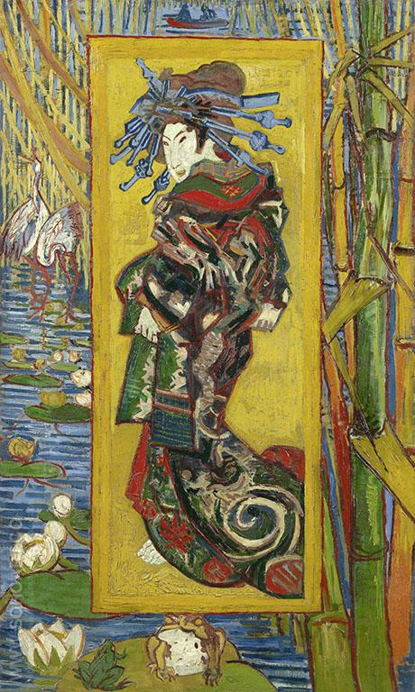 The Courtesan after Eisen 1887 - Vincent van Gogh reproduction oil painting