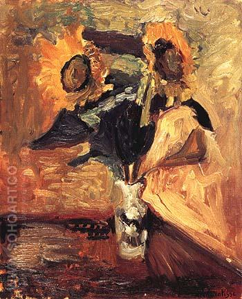 Vase with Sunflowers 1898 - Henri Matisse reproduction oil painting