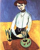 Girl with Tulips (Jeanne Vaderin) 1910 - Henri Matisse reproduction oil painting