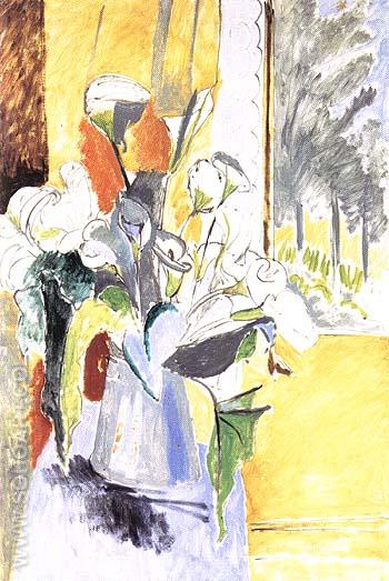 Bouquet of Flowers on a Veranda 1912 - Henri Matisse reproduction oil painting