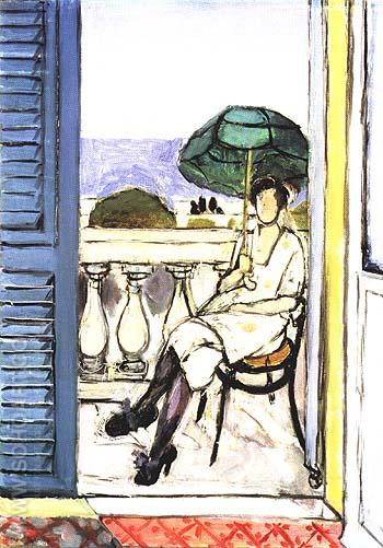 Woman with a Green Parasol on a Balcony 1918 - Henri Matisse reproduction oil painting