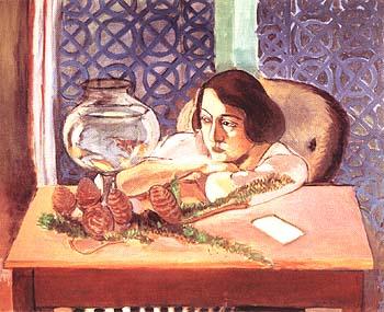Woman Before an Aquarium 1921 - Henri Matisse reproduction oil painting