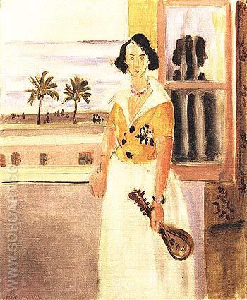 Woman with a Mandolin 1922 - Henri Matisse reproduction oil painting