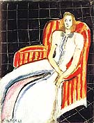 Simone in a Striped Armchair 1942 - Henri Matisse reproduction oil painting