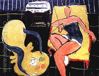 Dancer and Rocaille Armchair on a Black Background 1942 - Henri Matisse reproduction oil painting