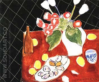 Tulips and Oysters on a Black Background 1943 - Henri Matisse reproduction oil painting