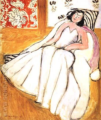 Young Woman with White Fur Coat 1944 - Henri Matisse reproduction oil painting