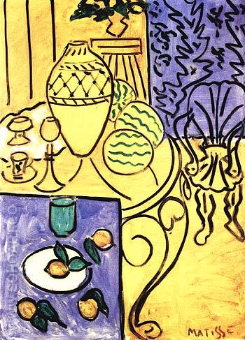 Interior in Yellow and Blue 1946 - Henri Matisse reproduction oil painting
