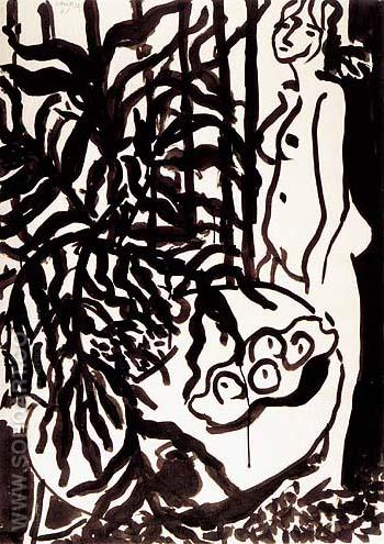 Composition with a Standing Nude and Black Fern 1948 - Henri Matisse reproduction oil painting