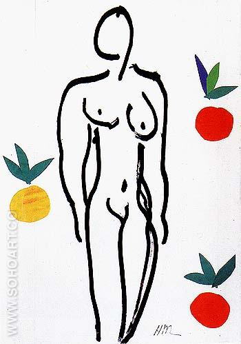 Nude with Oranges 1952 - Henri Matisse reproduction oil painting
