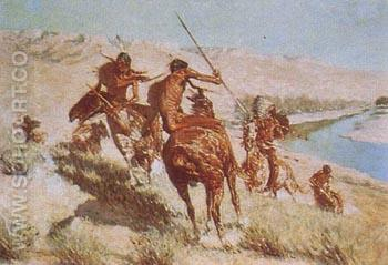 Episode 1 of the Buffalo Gun - Frederic Remington reproduction oil painting