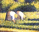Farm Woman at Work (Paysannes au travail) - Georges Seurat reproduction oil painting