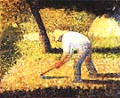 Peasant with a Hoe 1882 - Georges Seurat reproduction oil painting