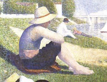 Bathers at Asnieres [detail] 1883 - Georges Seurat reproduction oil painting