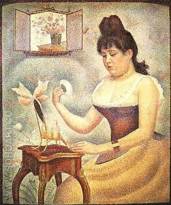 Young Woman Powdering Herself 1888 - Georges Seurat reproduction oil painting
