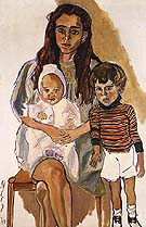 Julie and Children 1970 - bill bloggs reproduction oil painting