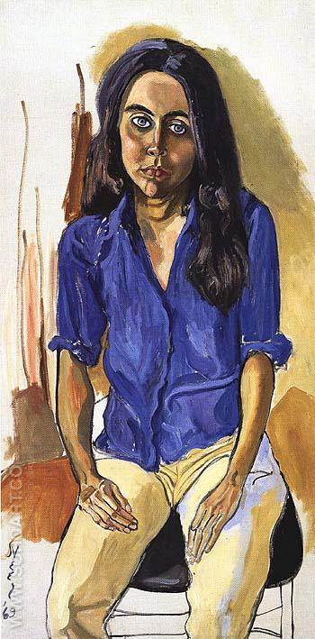 Ginny in Blue Shirt 1968 - bill bloggs reproduction oil painting