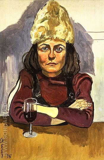 Woman in Cafe 1975 - bill bloggs reproduction oil painting