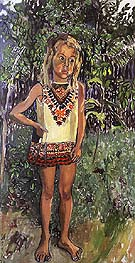 Olivia in an African Dress 1972 - bill bloggs reproduction oil painting