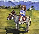 Elizabeth on the Donkey 1977 - bill bloggs reproduction oil painting