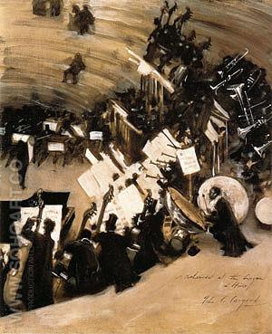 Rehearsal of the Pasdeloup Orchestra at the Cirque D'Hiver 1879-80 - John Singer Sargent reproduction oil painting