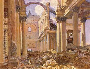 Ruined Cathedral Arras 1918 - John Singer Sargent reproduction oil painting