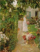 Gathering Flowers in a French Garden, 1888. - Childe Hassam reproduction oil painting