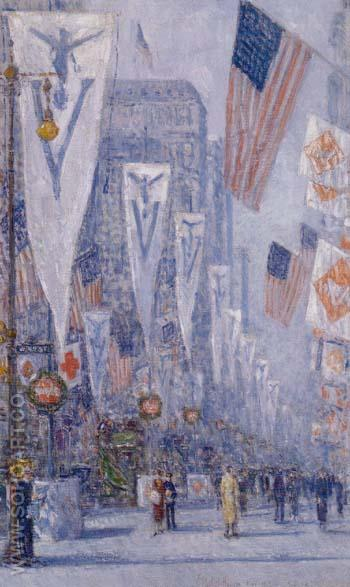Victory Day May 1919 - Childe Hassam reproduction oil painting