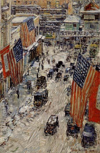 Flags on Fifty seventh Street The winter of 1918 - Childe Hassam reproduction oil painting