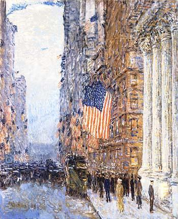 Flags on the Waldorf 1916 - Childe Hassam reproduction oil painting