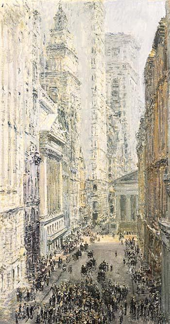 Lower Manhattan View Down Broad Street - Childe Hassam reproduction oil painting