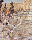 The Spanish Stairs Rome 1897 - Childe Hassam reproduction oil painting